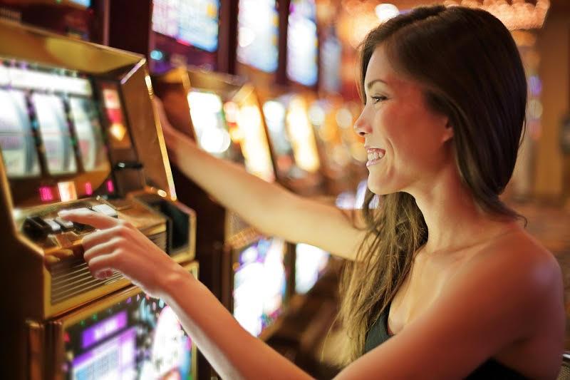 Slots casino woman playing
