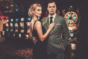 casino, couple, blond woman