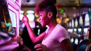 woman. playing, slots