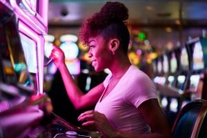woman. playing, slots