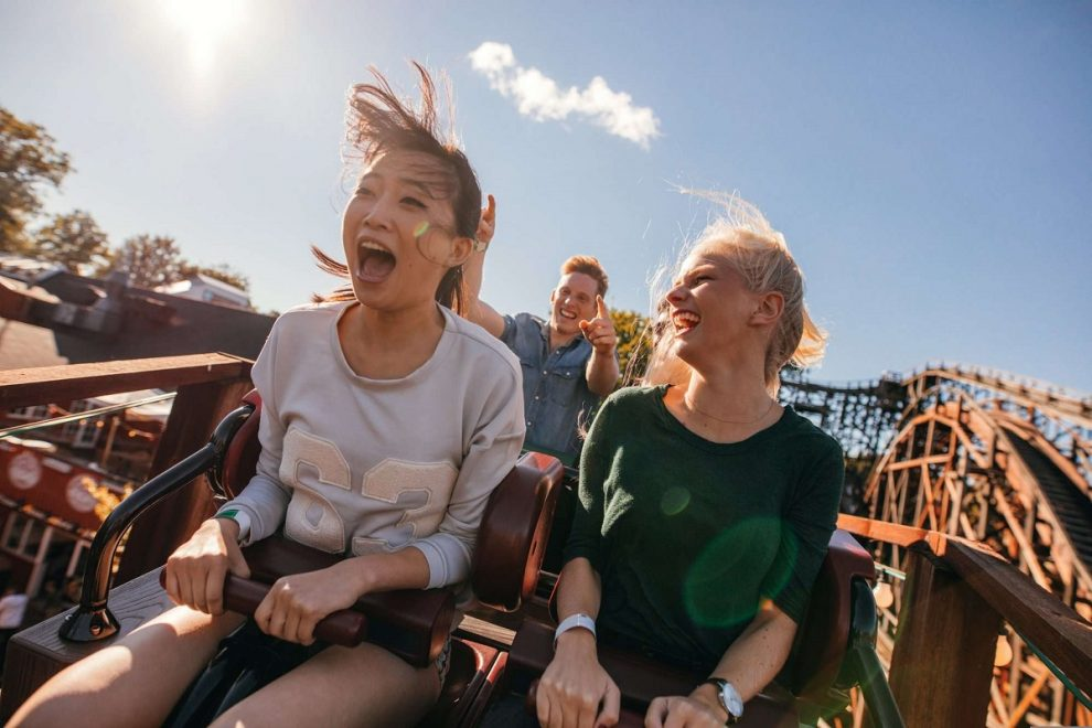 roller coaster, summer, theme park